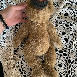 antique teddy with hat